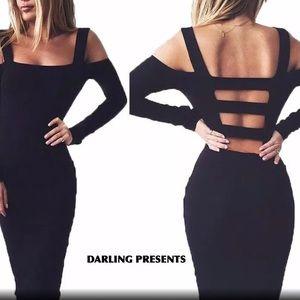 BLACK COLD SHOULDER CAGE DRESS